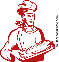 Illustration of a baker with bread on a white background