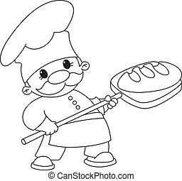 baker with bread outlined - illustration of a baker with...