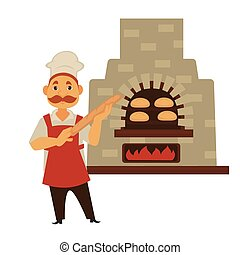 Baker with mustache and baguette stands near brick stove -...
