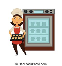 Baker woman in bakery shop baking bread in oven vector isolated baker profession people icon