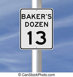 Baker's Dozen - A modified speed limit sign indicating...