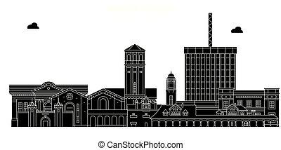 Bakersfield, United States, vector skyline, travel illustration, landmarks, sights.