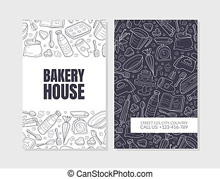 Bakery advertising. Vector illustration with black background.