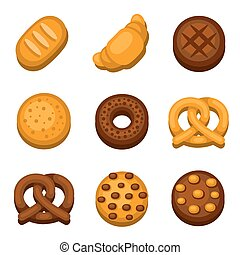 Bakery and Bread Icons Set. Vector