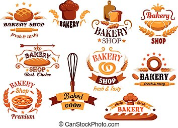 Bakery and bread symbols or banners also with cereal ears, utencil and decorations for food design