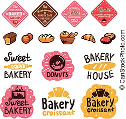 Bakery and confectionery products logos and icons with lettering