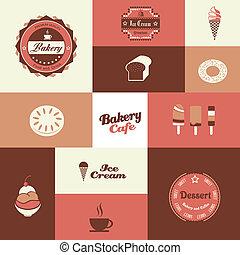 bakery and ice cream shop retro background