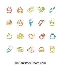 Bakery and Pastry Colorful Icons Set. Vector