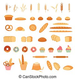 Bakery and pastry products icons.