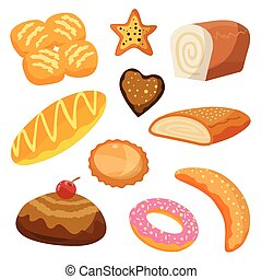 Bakery and pastry products icons set with various sorts of bread, sweet buns, croissant, bagel, donut, for bakery shop or food design