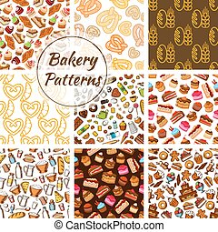 Bakery and pastry seamless pattern background