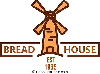 Bakery and pastry shop badge with vintage windmill - Bakery...