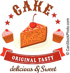 Bakery and pastry shop badge with chocolate cakes