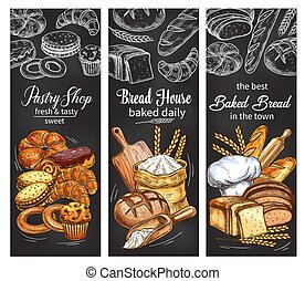 Bakery and pastry shop banner with bread and bun - Bakery...