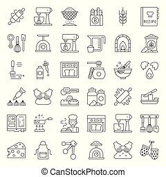 bakery and pastry shop related outline icon set editable...