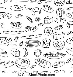 Bakery background illustration. Hand drawn vector seamless...