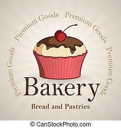 Bakery background with vanilla cupcake