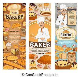Bakery, baker, cafe and pastry shop - Bakery shop, baker and...