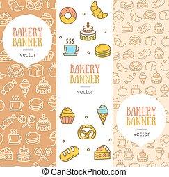 Bakery Banner Flyer Vertical Set. Vector
