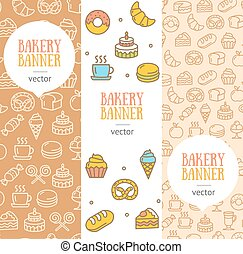 Bakery Banner Flyer Vertical Set. Vector