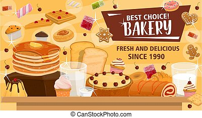 Bakery banner for pastry products or confectionery - Bakery...