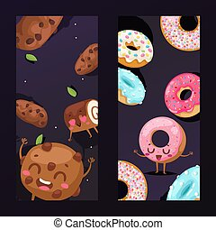 Bakery banner with funny cookie mascot cartoon character, vector illustration. Bakeshop promotion campaign, pastry products and donuts. Freshly baked sweets for cafe, vertical banner advertisement