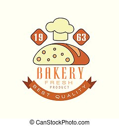 Bakery best quality, estd 1963 logo template, bread shop badge retro food label design vector Illustration