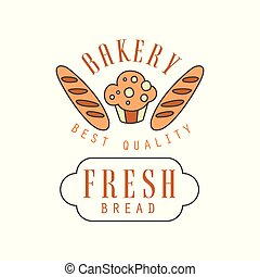 Bakery best quality, fresh bread logo template, bread shop badge retro food label design vector Illustration