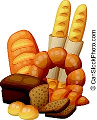 Bakery bread, buns, croissant, loaf
