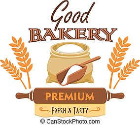 Bakery bread emblem with flour and wheat element