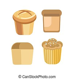 Bakery bread pastry sorts of wheat rye bagel cake vector...