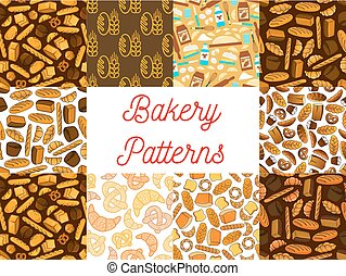 Bakery bread products seamless pattern backgrounds