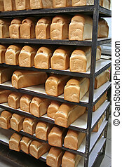 Bakery bread - Rows of bread loaves in racks in a bakery