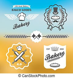bakery bread vintage retro badges labels logo set