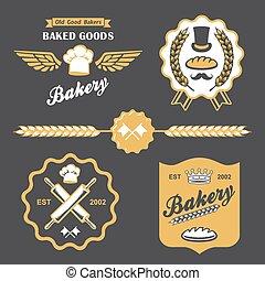 bakery bread vintage retro badges labels logo