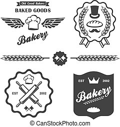 bakery bread vintage retro badges labels set