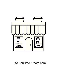 Bakery building thin line icon concept. Bakery building linear vector sign, symbol, illustration.