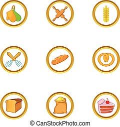 Bakery business icon set, cartoon style