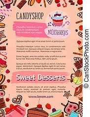 Bakery candy desserts vector poster for cafe - Candyshop...