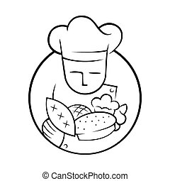 Bakery Chef with Lots of Bread