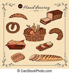 Bakery Colored Hand Drawn Set