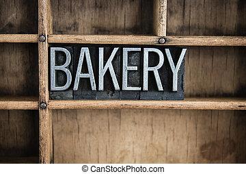 Bakery Concept Metal Letterpress Word in Drawer