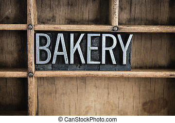Bakery Concept Metal Letterpress Word in Drawer