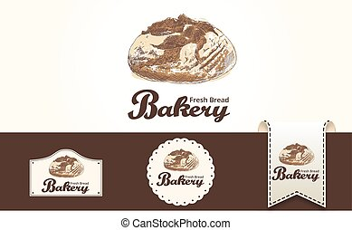 Bakery concept with hand drawn bread vector illustration