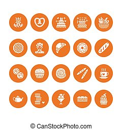 Bakery, confectionery flat glyph icons. Sweet shop products...