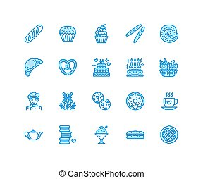 Bakery, confectionery flat line icons. Sweet shop products...