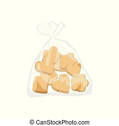 Bakery cookies in plastic bag vector Illustration