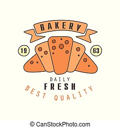 Bakery, daily fresh, best quality logo template, estd 1963, bread shop badge retro food label design vector Illustration