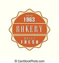 Bakery, daily fresh logo template, estd 1963, bread shop badge retro food label design vector Illustration