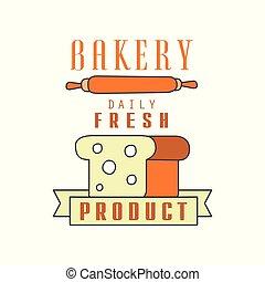 Bakery, daily fresh product, bread shop badge retro food label design vector Illustration